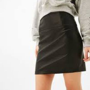 Bershka Black Faux Leather Mini Skirt